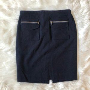 J CREW The Pencil Skirt Wool Moto Zipper 4 Navy